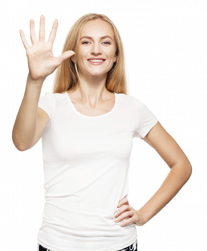 Woman at white background. Young female isolated